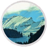 Alps Green Profile Round Beach Towel by Felicia Tica