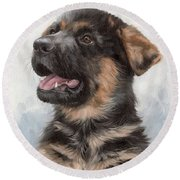 Alsatian Puppy Painting Round Beach Towel