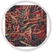Altered Polaroid - Chile Peppers Round Beach Towel by Wally Hampton