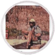Altered Polaroid - Raft Master Matt Round Beach Towel by Wally Hampton