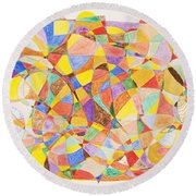 Round Beach Towel featuring the painting Alternate Realities by Stormm Bradshaw