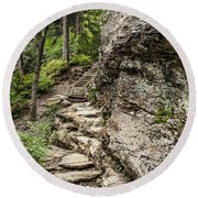 Alum Cave Trail Round Beach Towel by Debbie Green