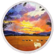 Alvin Counting Sheep Round Beach Towel