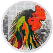 Round Beach Towel featuring the painting Amadeo The Tuscan Rooster by Janice Rae Pariza