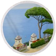 Amalfi Coast From Ravello Round Beach Towel by Mike Robles