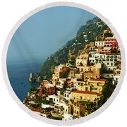 Amalfi Coast Hillside II Round Beach Towel