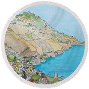 Amalfi Coast Praiano Italy Round Beach Towel by Mary Ellen Mueller Legault