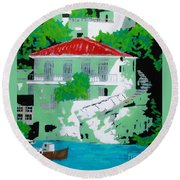 Round Beach Towel featuring the painting Amalfi Coast - Ravello by Roberto Prusso