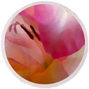 Gladiola Photo Painting Round Beach Towel