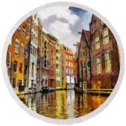 Amasterdam Houses In The Water Round Beach Towel by Georgi Dimitrov