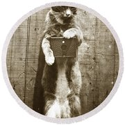 Round Beach Towel featuring the photograph Amateur Feline Fotografer Cat With A Box Camera  Historical Photo 1900 by California Views Mr Pat Hathaway Archives