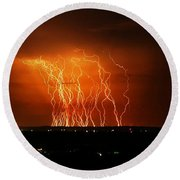 Amazing Lightning Cluster Round Beach Towel
