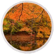 Amber Afternoon Round Beach Towel