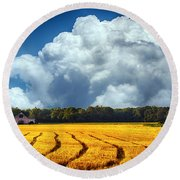 Amber Fields Round Beach Towel