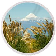 Amber Waves Of Osorno Round Beach Towel