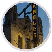 Ambler Theater Marquee Round Beach Towel by Photographic Arts And Design Studio