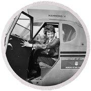 Amelia Earhart - 1936 Round Beach Towel