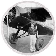 Amelia Earhart And Her Plane Round Beach Towel