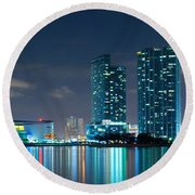 American Airlines Arena And Condominiums Round Beach Towel by Carsten Reisinger