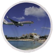 American Airlines At St. Maarten Round Beach Towel