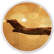 Round Beach Towel featuring the photograph American Airlines Md80  by Aaron Berg