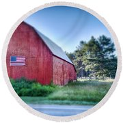 Round Beach Towel featuring the photograph American Barn by Sebastian Musial