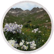 American Basin Columbines Round Beach Towel