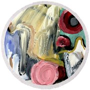 Round Beach Towel featuring the painting American Beauty by Stephen Lucas