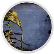Round Beach Towel featuring the mixed media American Bittern With Brush Calligraphy Lingering Mind by Peter v Quenter