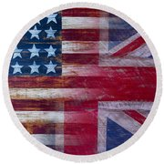American British Flag 2 Round Beach Towel