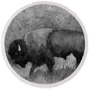 Monochrome American Buffalo 3  Round Beach Towel by Hailey E Herrera