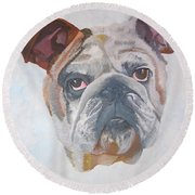 Round Beach Towel featuring the painting American Bulldog Pet Portrait by Tracey Harrington-Simpson