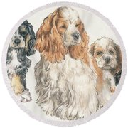 American Cocker Spaniel Puppies Round Beach Towel by Barbara Keith