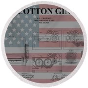 American Cotton Gin Patent Round Beach Towel