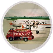 American Dc-6 At Columbus Round Beach Towel