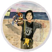 American Dream Girl Round Beach Towel by Melly Terpening