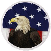 American Eagle And Flag Round Beach Towel