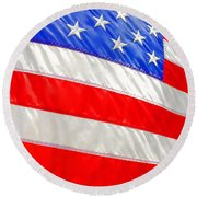 American Flag 1 Round Beach Towel