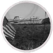 American Flag At Higgins Lake Michigan Round Beach Towel by John McGraw