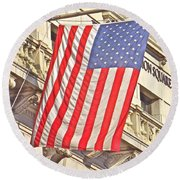 Round Beach Towel featuring the photograph American Flag N.y.c 1 by Joan Reese