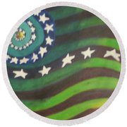American Flag Reprise Round Beach Towel