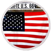 American Flag Route 66 Round Beach Towel by Dany Lison