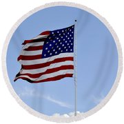 Round Beach Towel featuring the photograph American Flag by Verana Stark