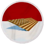 American Flag Wood Round Beach Towel