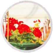 American Flags And Geraniums In A Wheelbarrow In Maine, One Round Beach Towel