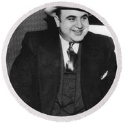 American Gangster Al Capone Round Beach Towel