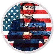 American Gangster Tony Montana Round Beach Towel