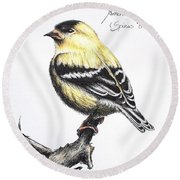 American Goldfinch Round Beach Towel by Katharina Filus