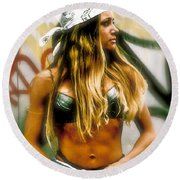 American Grunge  Round Beach Towel by Iconic Images Art Gallery David Pucciarelli