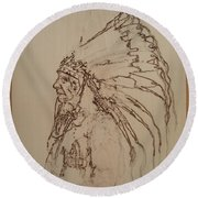 American Horse - Oglala Sioux Chief - 1880 Round Beach Towel by Sean Connolly